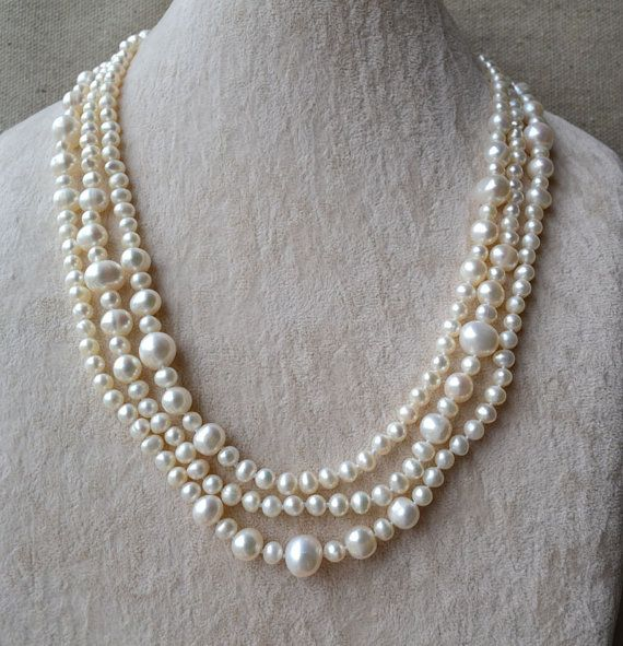 long pearl necklace60 inches 5-11mm white pearl by goodgoodjewelry