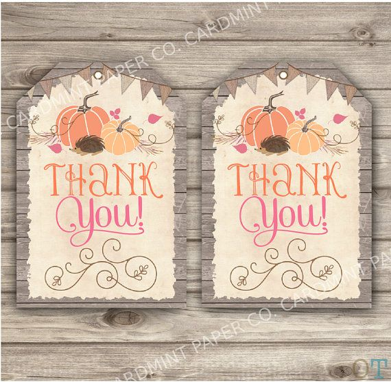 Pumpkin Thank You Tags Printable Fall hedgehog Wood by cardmint