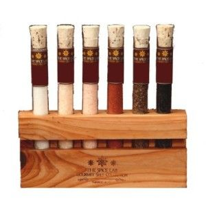 Gourmet Sea Salt Sampler Collection The set contains Himalayan Crystal Pink Salt, Cyprus Black Flake, Hawaiian Black Lava Chardonnay Oak Smoked, Alderwood Smoked, Rare Persian Blue Diamond.