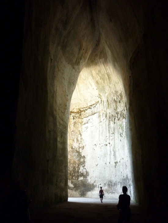 The Ear of Dionysius in Siracusa, on the island of Sicily. The shape of the cave creates astonishing acoustical effects wherein a whisper at one end of the cave can be heard clearly at the other.