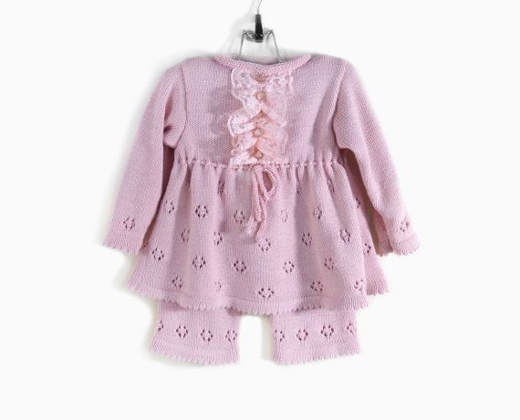 Knitted Baby Girl Dress and Pants  Pink 9  18 by SasasHandcrafts