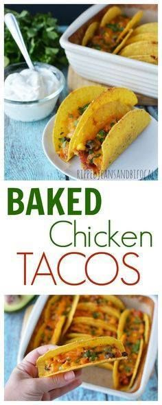 Baked Chicken Tacos| Baked Chicken Tacos|Ripped Jeans and...  Baked Chicken Tacos| Baked Chicken Tacos|Ripped Jeans and Bifocals |Taco recipes|taco ideas|easy recipe ideas|one pot dinners|taco tuesday recipes|chicken taco recipes|sports night meals|30 minute meals|family meals|easy dinner|crunchy tacos|chicken tacos| Recipe : http://ift.tt/1hGiZgA And @ItsNutella  http://ift.tt/2v8iUYW