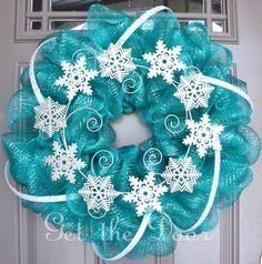Winter Wreath Mesh Winter Wreath Turquoise Wreath by getthedoor,