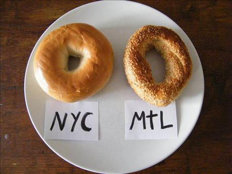 Difference between a New York and a Montreal bagel... personally I like NY bagels better. Does that make me a bad Canadian?