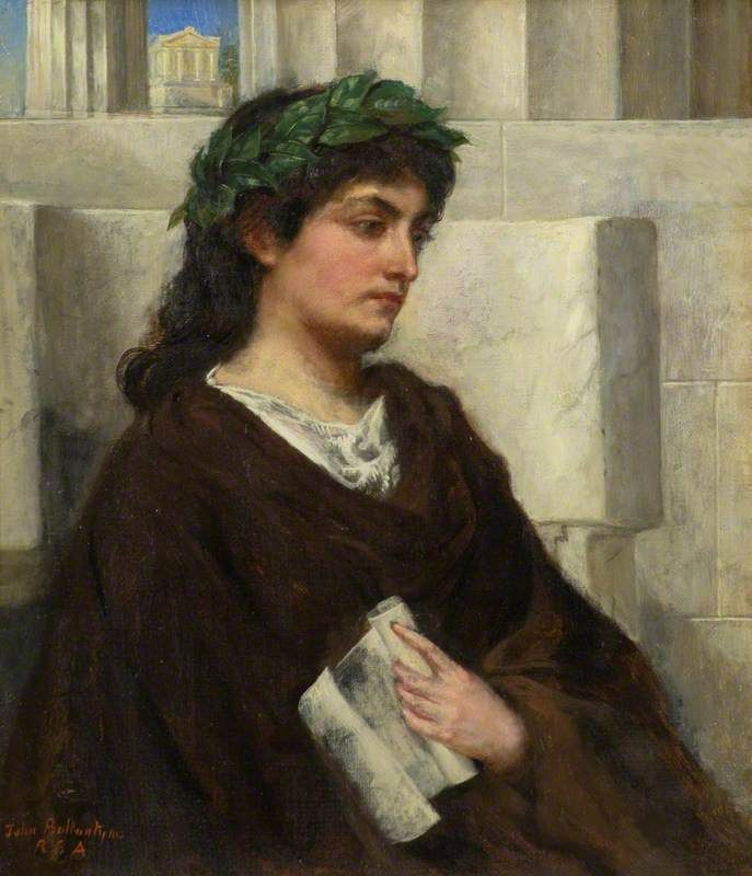 """Clio. John Ballantyne (Scottish, 1815-1897). Oil on canvas. Dundee Art Galleries and Museums. Clio, sometimes referred to as """"the Proclaimer,"""" is often represented with an open scroll of parchment scroll or a set of tablets. In her..."""