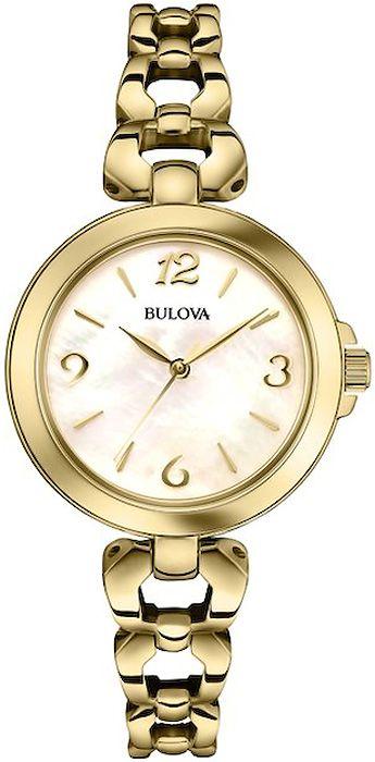 Zegarek damski Bulova Classic 97L138 z perłową tarczą i pozłacaną bransoletą www.zegarek.net