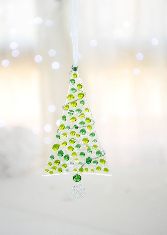 Green Transparent Fused Glass Christmas by NojaGlassDesign on Etsy