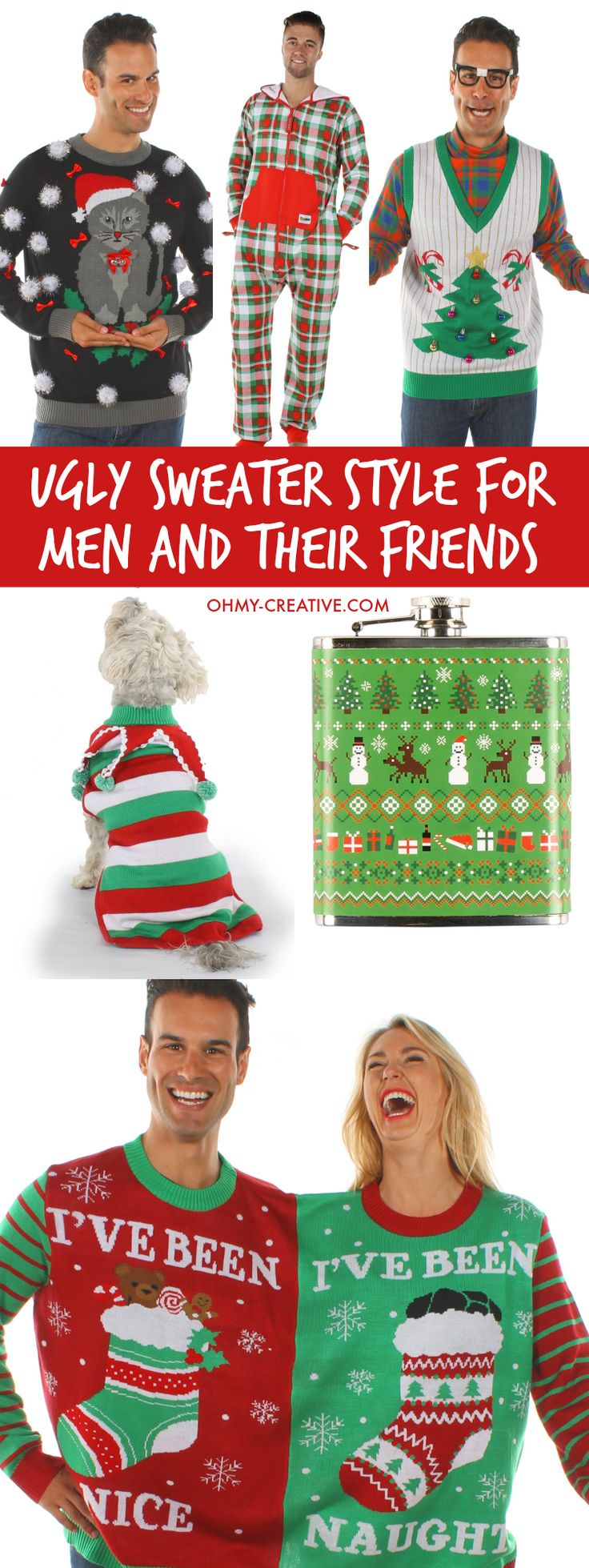 Ugly Christmas Sweater Style For Men And Their Friends! Be hot, hip and hilarious with these Ugly Christmas Sweater Party Looks from head to toe! Fun accessories too! | OHMY-CREATIVE.COM Ugly Sweaters | Ugly Sweater Party Ideas