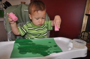 Toddler activity - sponge, paper and water.