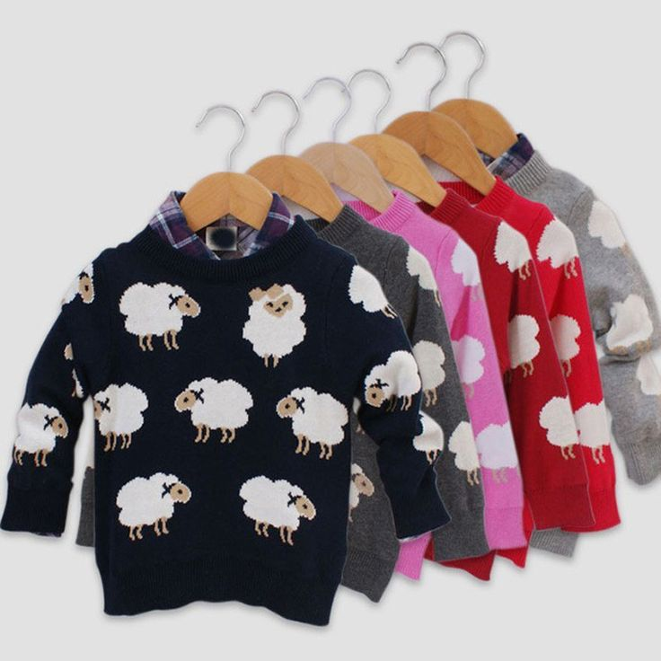sweater for girls 2015 Cartoon sheep pattern sweater kids clothes crochet cardigans boys sweaters vetement garcon fille pull