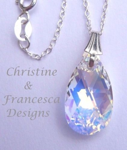 """Beautiful multi colour effect crystal ♥ .925 Sterling Silver CRYSTAL AB 16mm size Crystal Pear Pendant Chain Necklace made with Swarovski Elements crystal ~ 16"""" inch or 18"""" inch length chain + Gift Box & Organza Gift Bag ~ by Christine & Francesca Designs ---- #handmade #handcrafted #jewellery #bridal #bridesmaid"""