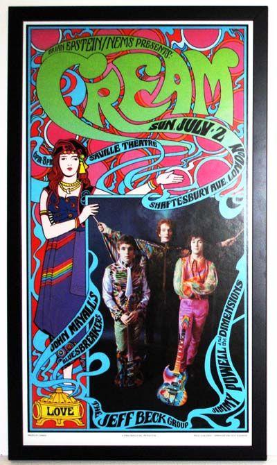 Classic Rock Concert Posters | Cream Concert Poster Custom Framed | eBay