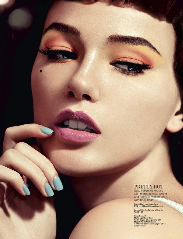 bright summer: orange and lemon eyeshadow with pastel blue nails