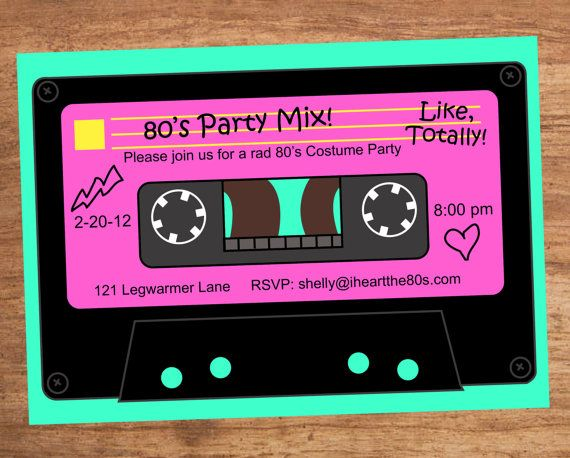 80's+Party+Mix+Tape+Custom+Invitation+by+SBVintageAndDesign,+$10.00