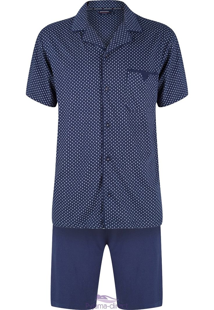 You can relax your night away in this men's navy blue, 'dots & crosses' full button cotton shorty set.