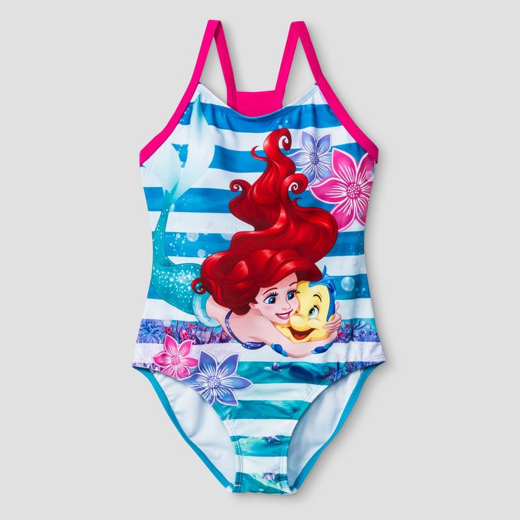 Girls' The Little Mermaid One Piece Swimsuit XS -Blue, Blue