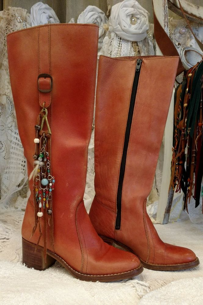 Distressed Russet Brown Leather Boots Women 7.5 Charms Vintage Hippie tmyers #Brandismissing #70sHippieStyle #Festival