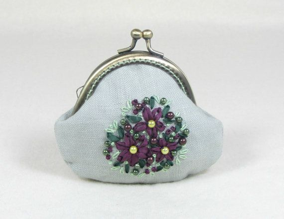 Hand embroidered linen coin purse aubergine silk by JRsbags,
