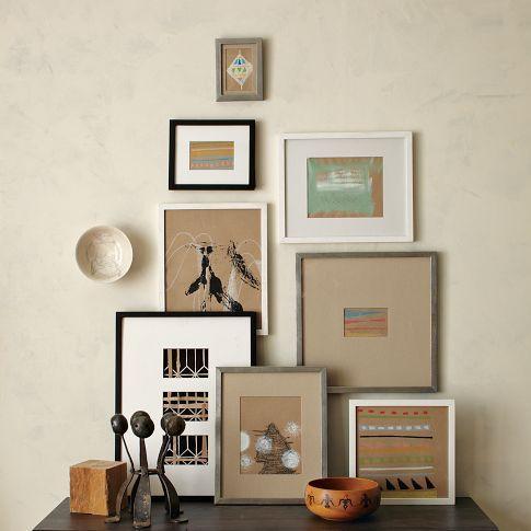 Gallery frames.Wall Art, Gallery Frames, Living Room, Art Display, Frames Arrangements, Wall Display, Gallery Wall, Pictures Frames, West Elm
