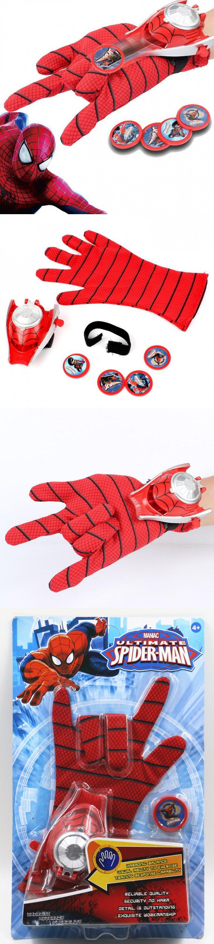 DC Justice League Superhero Spiderman Cosplay Glove with Flashing and Sounding,Kids Toy Spiderman Glove Launcher with 4 Frisbee