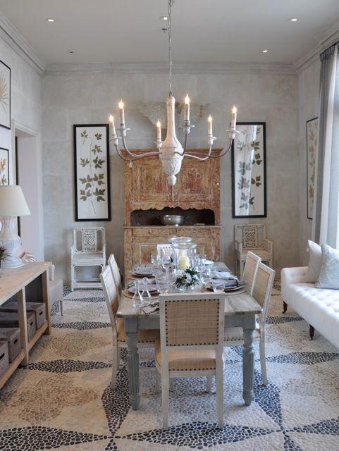 Diamond and quatrefoil stone pattern floor; Phoebe Howard