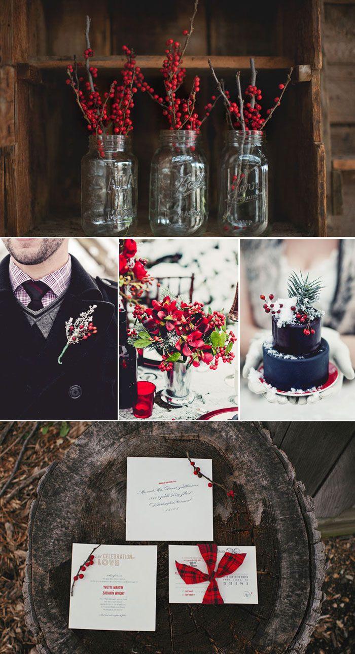 Cranberry champagne wedding - Picks On Paper Winter Wedding Details