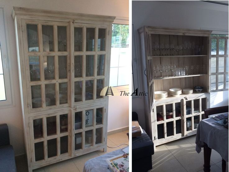 Our distressed white display cabinet looks stunning in a client's dining room #distressed #white #display #cabinet #furniture #sideboard #hutch #theatticdubai