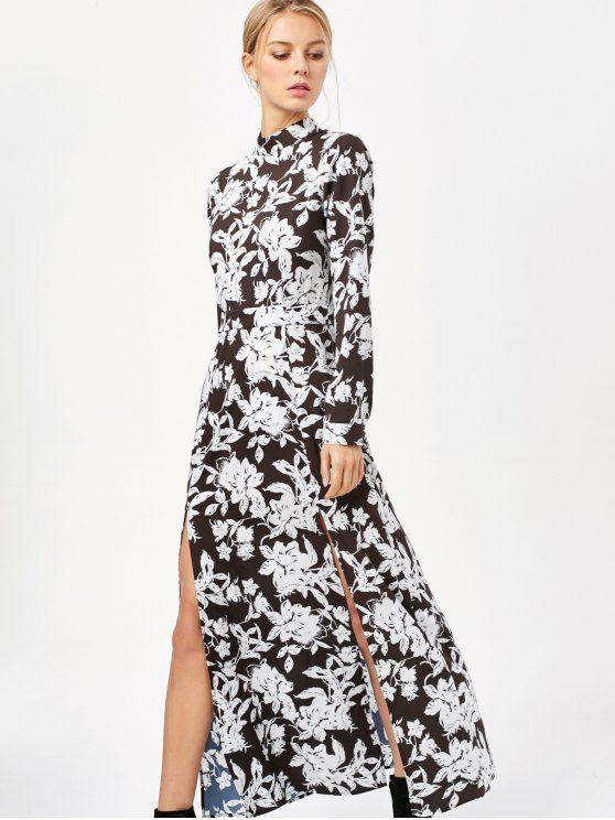 Printed Thigh Split Maxi Dress - WHITE/BLACK L
