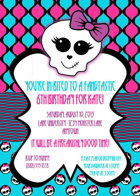 Monster High Birthday Party Digital Invitation By Partyhardydesigns