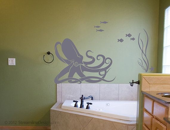 octopus and fish underwater scene removeable vinyl wall art octopus decal fish seaweed starfish bathroom wall art octopus wall sticker