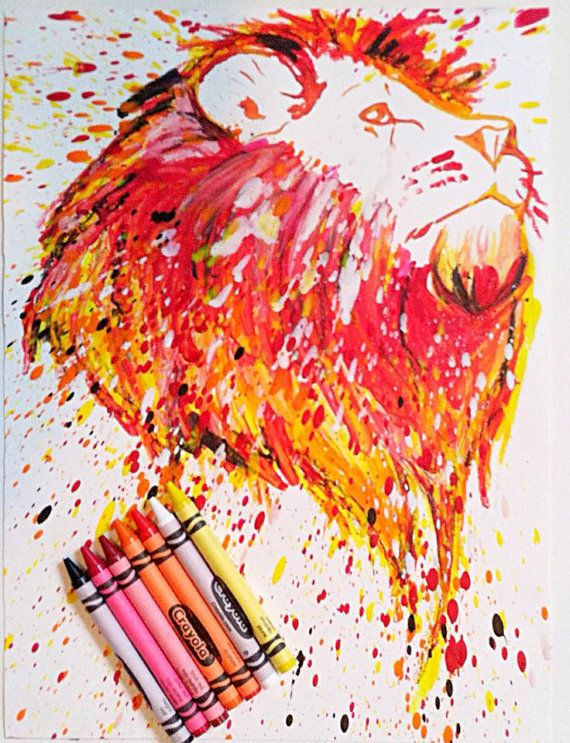 Go to www.facebook.com/meltingmiltons to see more melted crayon works! Crayon melted lion portrait. Multicolor bust of lion made out of crayon melted on paper. facebook.com/meltingmiltons