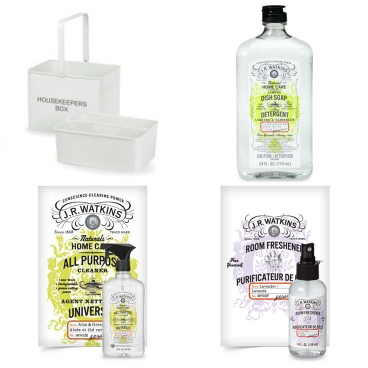 "Housekeeper's Bin with ""JR Watkins Naturals"" Cleaning Products 