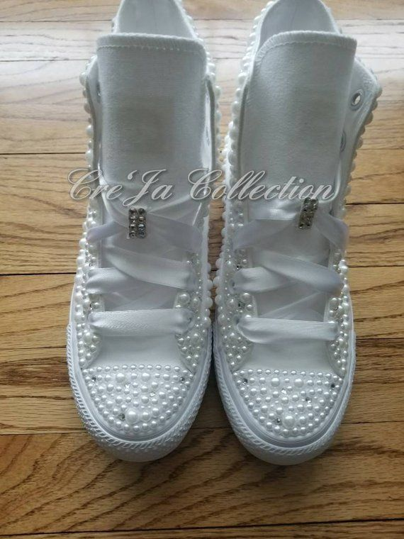 Womens Wedding ConverseBridal Converse Pearl Converse Bling  3a6c884b45c5
