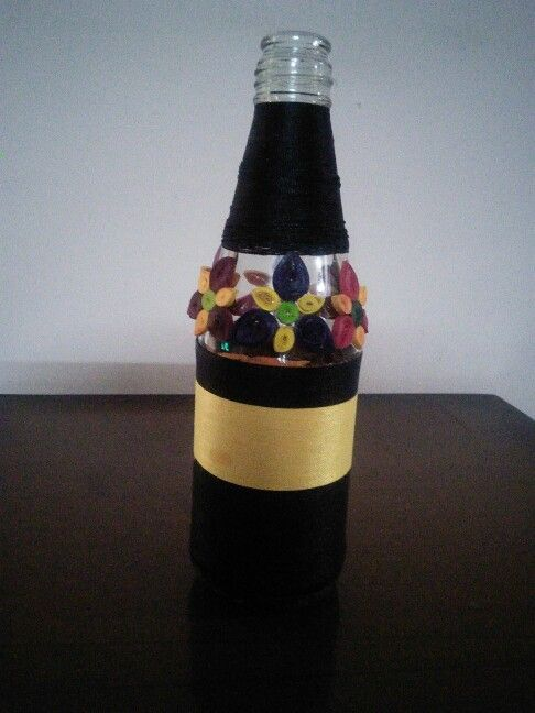 Bottle decoration with thread n quilling