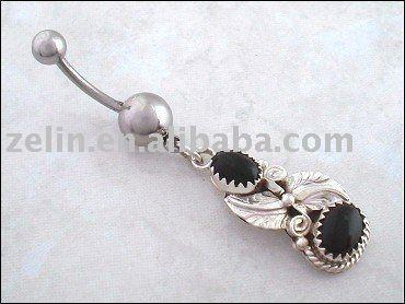 Navajo de ónix negro y plata de ley del vientre del ombligo anillo, joyería del ombligo, joyería del cuerpo - spanish.alibaba.com