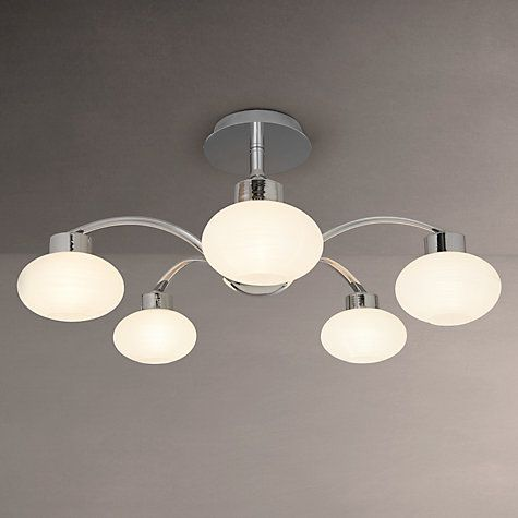 Buy John Lewis Roma 5 Armed Semi-Flush Ceiling Light, Chrome/White Online at johnlewis.com