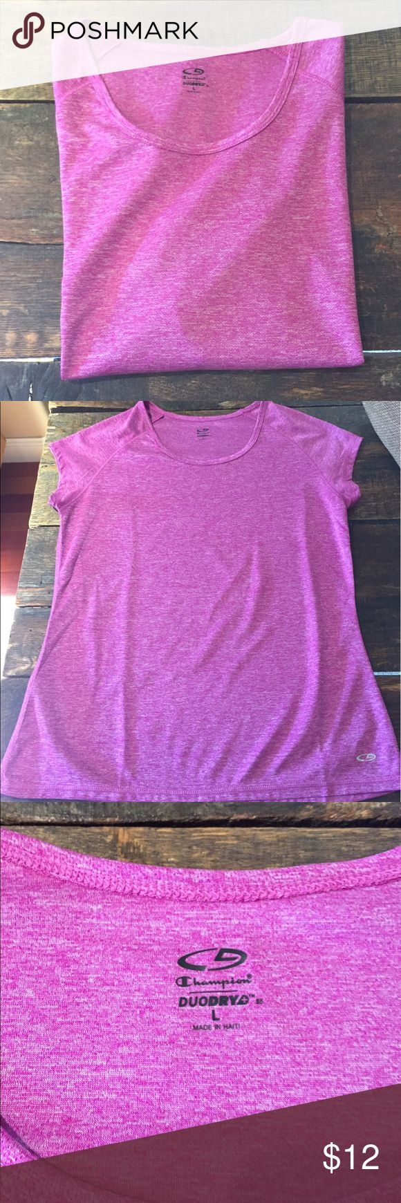 NWOT Champion Duo Dry Shirt NWOT Champion Duo Dry Shirt.  Pink/purple.  Short sleeves.  Brand new.  Never worn.  🐶 Friendly home.  Smoke Free!  Make me an offer! Champion Tops