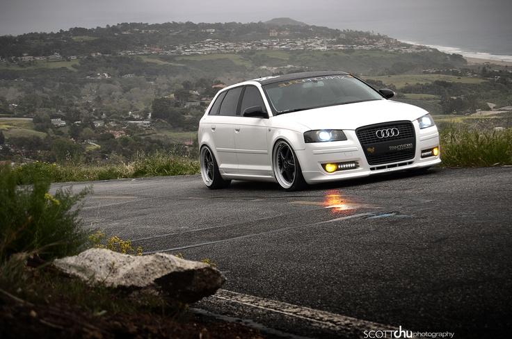 White Audi wagon. #slammed