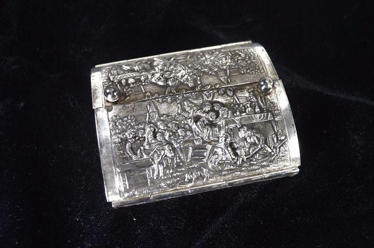 Vintage Hammered / Etched Silver Metal Trinket Box - Hinged - Death Scene