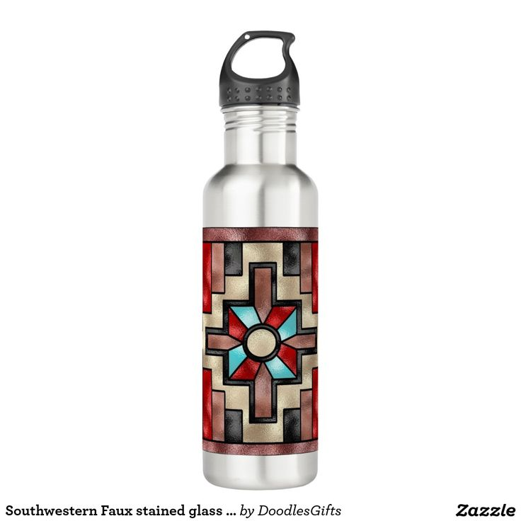 Southwestern Faux stained glass water bottle 24oz Water Bottle