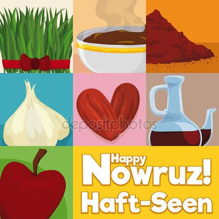 Squared Design with Elements for Traditional Table Setting in Nowruz