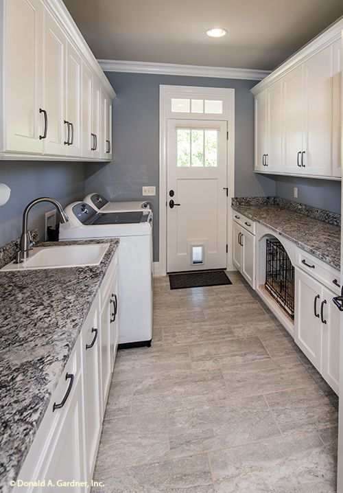 Your laundry or mud room is a great place to stash dog food and pet-washing supplies. Pet-friendly home designs often include changes to the laundry area that incorporate a pet-washing station and storage for pet food and supplies. #WeDesignDreams