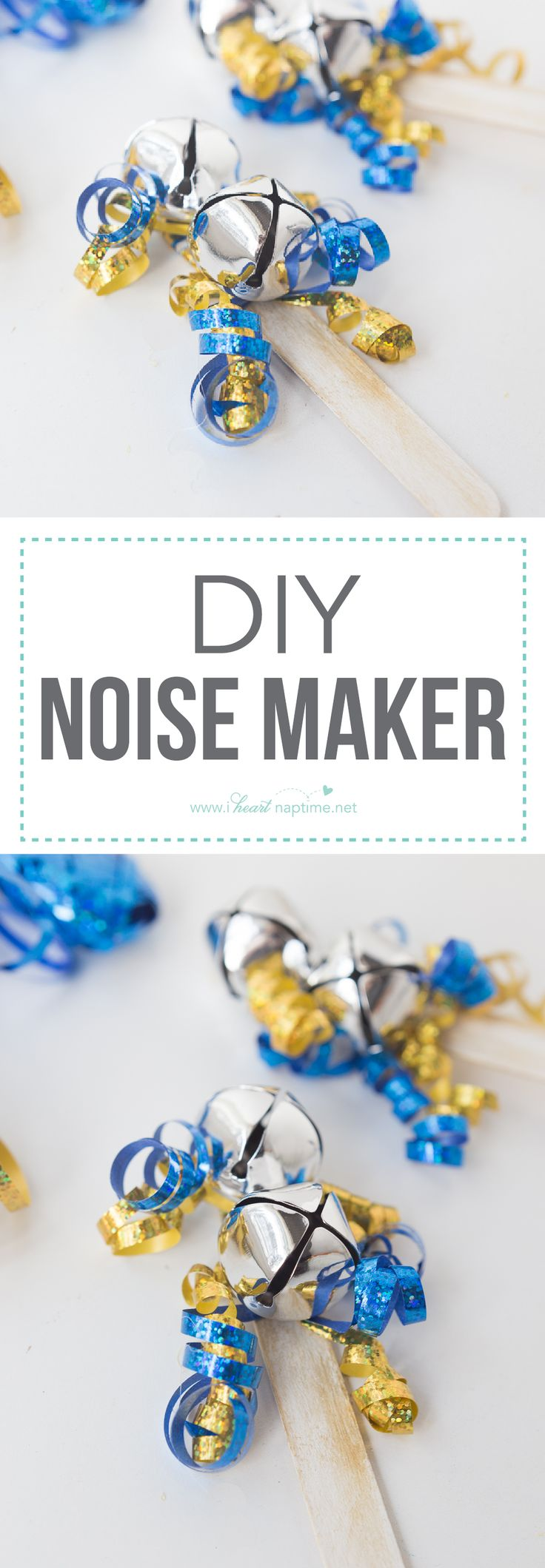 DIY Noise Maker... a fun and simple New Years Eve Craft for the kids. They will have a blast ringing in the New Year with their jingle bells.
