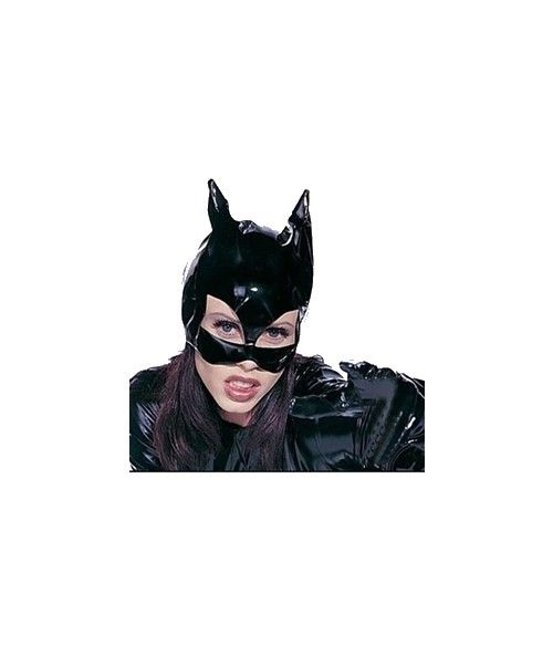 Sexy Cats Eye Mask Catsuit Costume Accessory Black Leather Hood