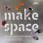 """Four how-to spreads from the Make Space book -- create your own Z-Rack (rolling whiteboard), T-Wall (group dividers), Foam Cubes (seating or creative building), or Hiding Place (""""respite from an open, collaborative environment"""")."""