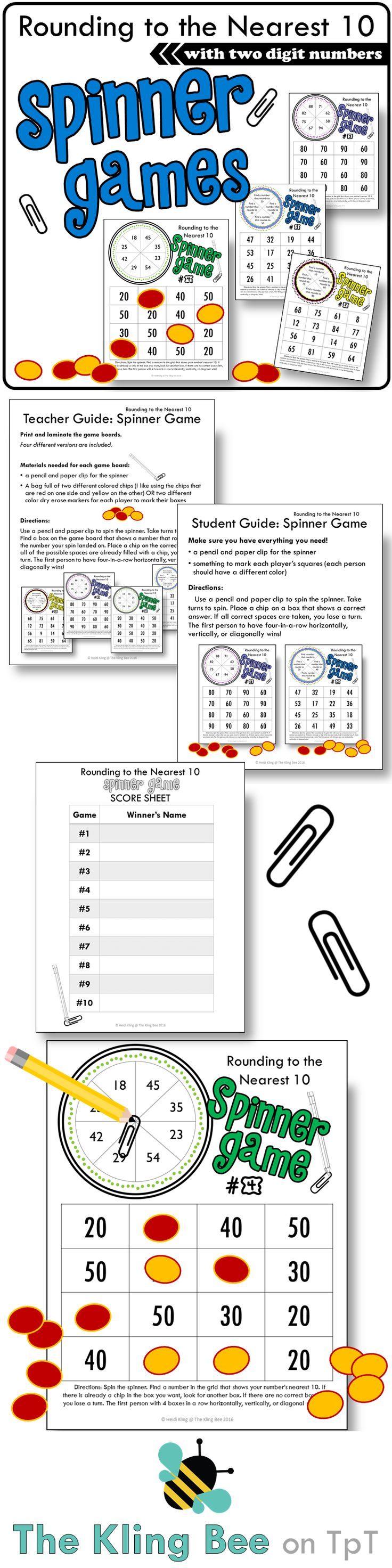 Round to the Nearest Ten using two digit numbers. Spinner games make a great addition to math workshop, centers, and independent stations! Included are four versions of the game, a teacher guide, a student guide, and a winner recording sheet.Please view the preview to read the Teacher and Student Guides, and to see a game board up close.