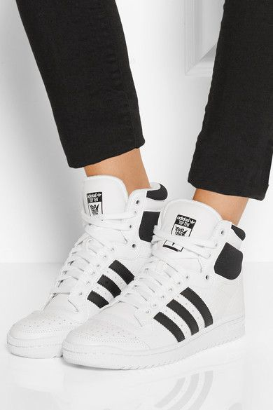 adidas Originals | Top Ten textured-leather high-top sneakers | NET-A-PORTER.COM