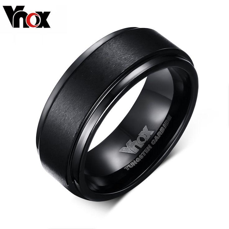 Vnox Joyería De Tungsteno Negro Anillos de Compromiso para Los Hombres 8mm de Ancho Con Textura Hombres Anillos Al Por Mayor