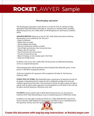 housekeeping contract samples