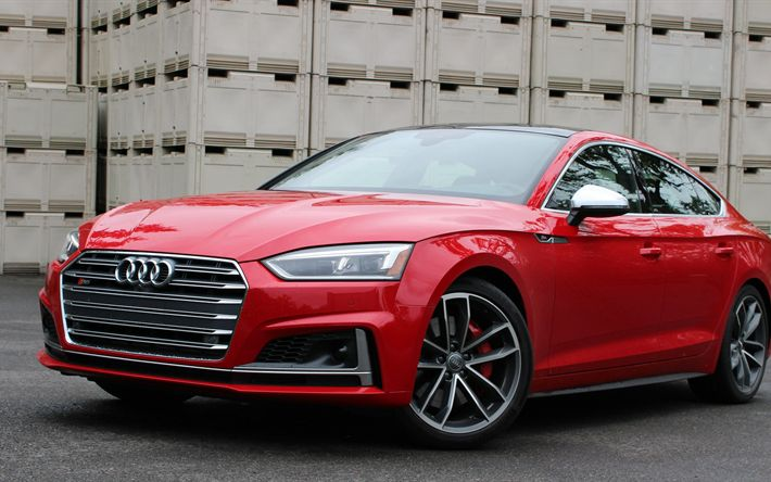 Download imagens O Audi S5 Sportback, 2018, Vermelho S5, carros alemães, Audi